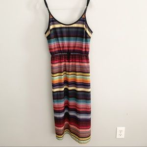Athleta Havana Rainbow Striped Midi Dress